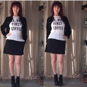 "Tops - OFF WHITE SHORT SLEEVE T  ""OK, BUT FIRST COFFEE"""